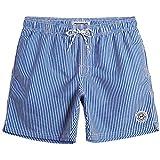 MaaMgic Shorts de Baño para Hombre Shorts de Playa Traje de Bañode Secado Rápido para Vacaciones Diseño a Rayas, Azules Rayas Verticales M