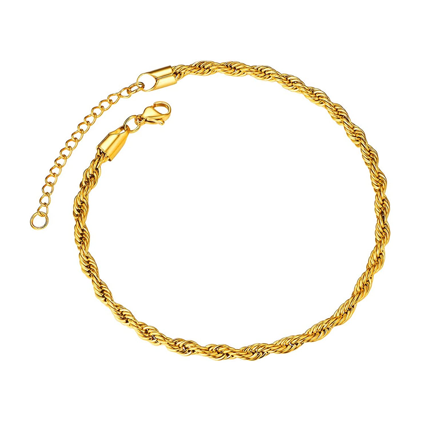 ChainsPro Cuban Chain Ankle Bracelet for Women Men, Beautiful Summer Beach Jewelry-Strong with Good Clasp-18K Gold Plated(Send Gift Box)