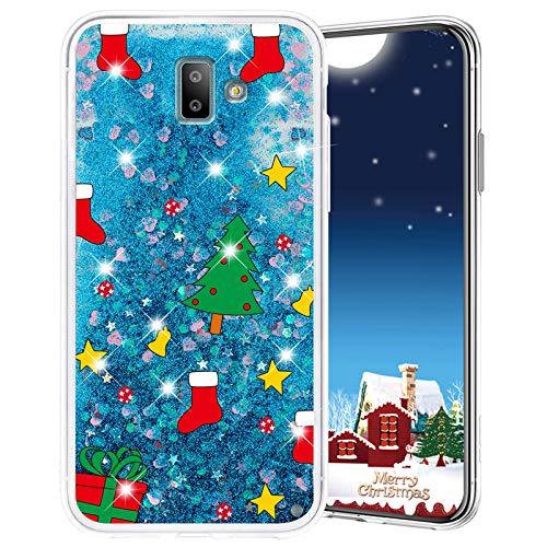 Misstars Weihnachten Handyhülle für Samsung Galaxy J6 Plus 2018, 3D Kreativ Glitzer Flüssig Transparent Weich Silikon TPU Bumper mit Weihnachtsbaum Muster Design Anti-kratzt Schutzhülle