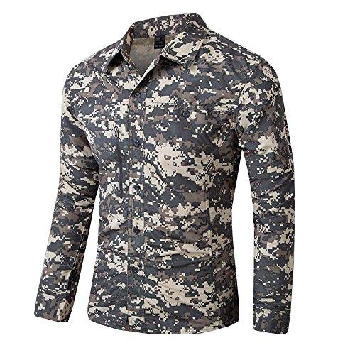 Noga Chemises multifonctions à séchage rapide à manches courtes/complètes, pour randonnée, escalade, camouflage acu (ACU Camo, M)