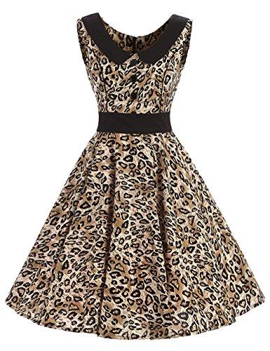 VKStar Retro Kleider Damen 50er 60er Vintage Kleider Sommer ärmellos Rockabilly Abendkleid Leopard...