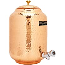 Crockery Wala And Company 4 Litre Hammered Copper Water Dispenser (Matka) Leak Proof Container Pot with 100% Pure Copper and Ayurvedic Health Benefits (4000 ml)