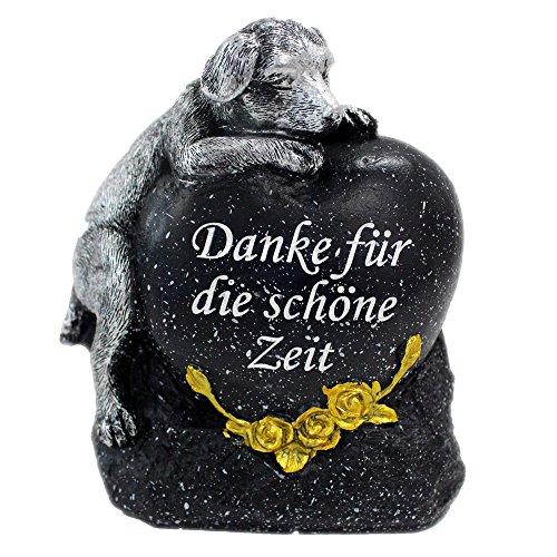 Grabstein Hund Tiergrabstein mit Spruch Polyresin Gedenkstein Grabdeko schwarz
