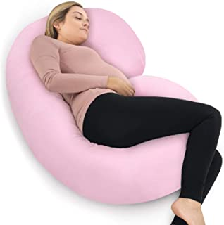PharMeDoc Pregnancy Pillow with Blue Jersey Cover, C Shaped Full Body Pillow - Available in Blue, Pink, Grey (Light Pink)