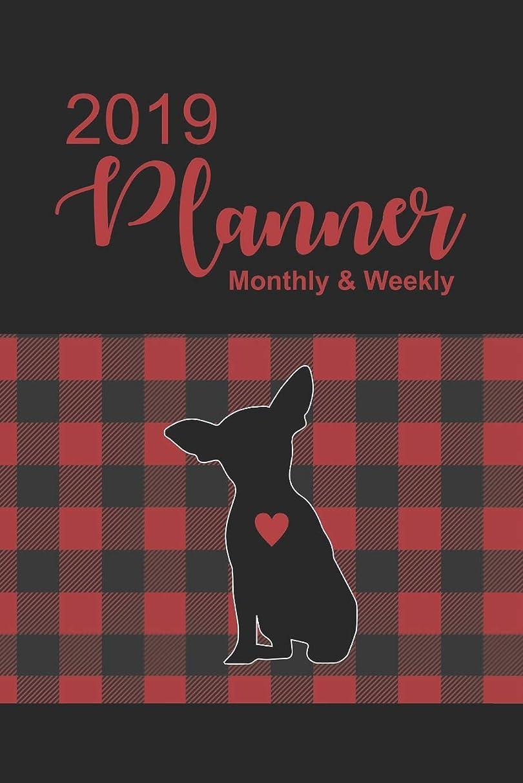 詳細に縮れた加速度2019 Planner: Buffalo Plaid with Chihuahua Dated Daily, Weekly, Monthly, Yearly Planner with To-Do, Gratitude, Habit Tracker, Dot Grid to use as Organizer, Schedule, Journal, or Notebook, Monday start.