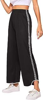 SheIn Women's Casual Loose Elastic Waist Stripe Side Wide Leg Pants