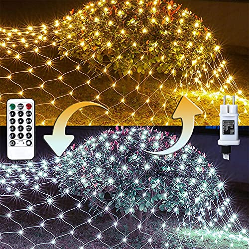 100/160/240/320er LED Lichternetz Lichtervorhang Lichterkette Warmweiß Deko Leuchte Innen und Außen Weihnachten Hochzeit mit Stecker gresonic (Warm-/Kaltweiß 9modi Dimmbar, 240LED)