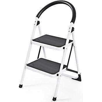 COSTWAY Escalera Doméstico de Metal Plegable Escalerilla con Apoyabrazos Carga Hasta 150KG (2 Peldaños): Amazon.es: Bricolaje y herramientas