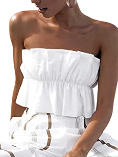 Miessial Women's Off Shoulder Ruffle Crop Tops Sleeveless Pleated Lace Up T-Shirts Tops