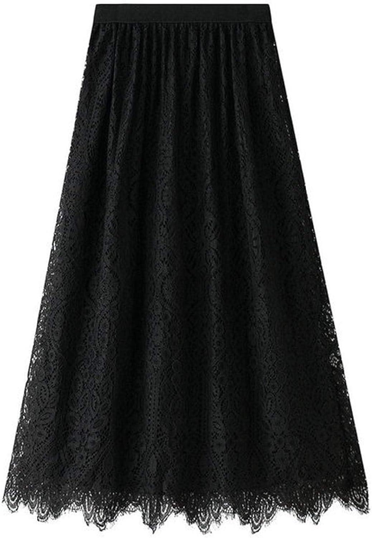 Women's Midi Pleated Skirt A Line High Waist Elasticated Lace Layered Skirt Dress