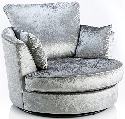 Sofas and More Large Swivel Round Cuddle Chair Fabric Crushed Velvet Designer Scatter Cushions (Silver)