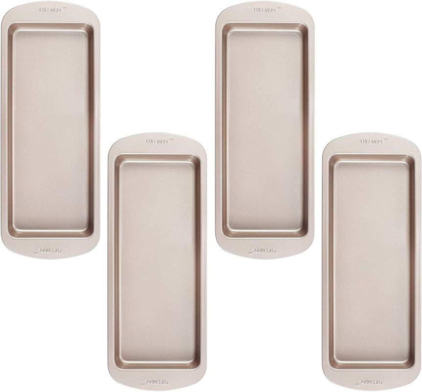 CHEFMADE Layers Cake Pan Set 10 Inch 4Pcs Non Stick Rectangle Rainbow Cake Bakeware FDA Approved For Oven Baking Champagne Gold