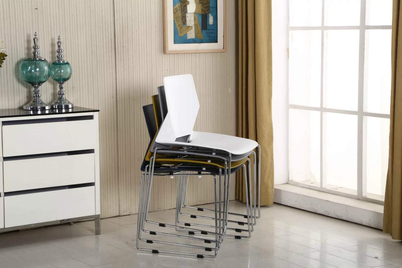 Lot de 4 chaises de salle à manger empilables en plastique avec pieds en métal, pour cuisine, bureau, chambre, salon gris Blanc
