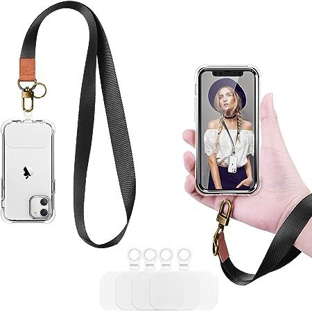 Dracool 2 Stück Handykette Universal Schlüsselband Umhängeband Halsband zum Umhängen und Handschlaufe 4 Patches für iPhone 13 12 11 Pro Max X XR Samsung Huawei Xiaomi und Mehr Smartphone - Schwarz