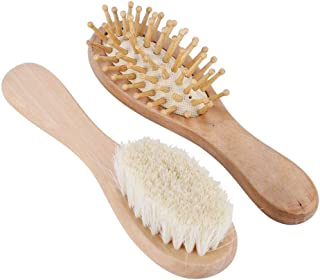 Wooden Baby Hair Brush, Round BodyComfortable Portable Baby Boy Hair Brush, Easy to Detangle Comfortable Wooden Handle Tod...