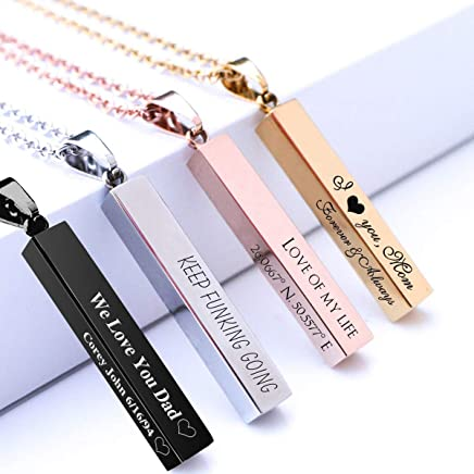 Personalized 3D Bar Necklace, Stainless Steel Custom Engraved Initial Name Necklace Customized Vertical Pendant for Mother's Day