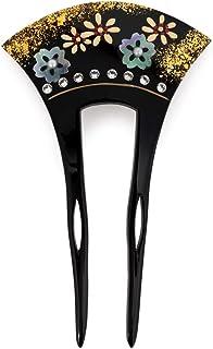 (ソウビエン) バチ型簪 かんざし フォーマル 黒 ブラック 桜 菊 螺鈿 貝細工 ラインストーン 蒔絵調 ラメ