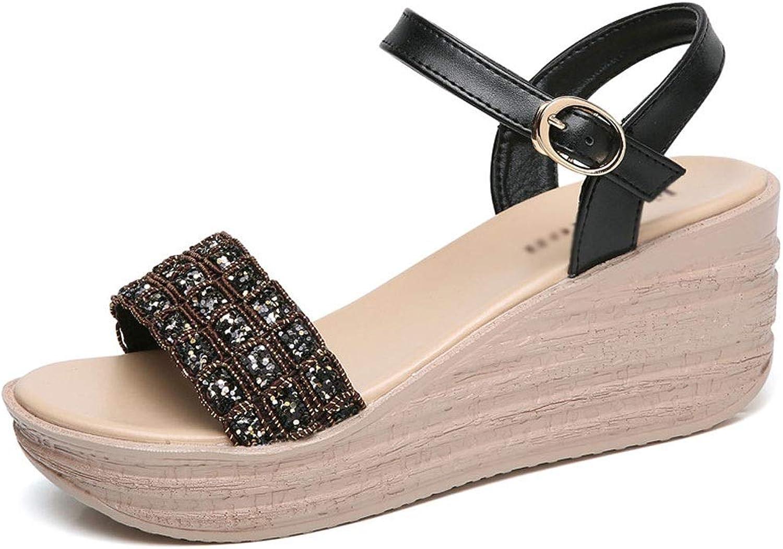 Frauen Sandalen, Sandalen, Sommer Frauen Sandalen mit Keilabsatz Sexy Open Toe Strass Pailletten Metallic Gürtelschnalle Sandalen mit Keilabsatz  verschiedene Größen