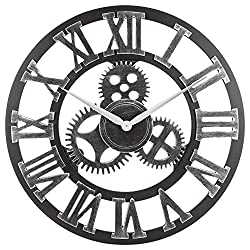 Oldtown Clocks 23 inch Noiseless Silent Gear Wall Clock - Large Handmade 3D Retro Rustic Country Decorative Luxury Art Big Wooden Vintage for House Warming Gift, (Roman-Silver)