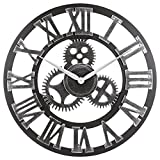 Oldtown Clocks 23' inch Noiseless Silent Gear Wall Clock - Large Handmade 3D Retro Rustic Country Decorative Luxury Art Big Wooden Vintage for House Warming Gift, (Roman-Silver)