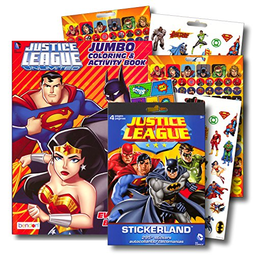 DC Studios Justice League Coloring Book Bundle with Over 295 Stickers Specialty Separately Licensed GWW Reward Sticker ~ Batman, Superman, Wonder Woman, Aquaman, Cyborg