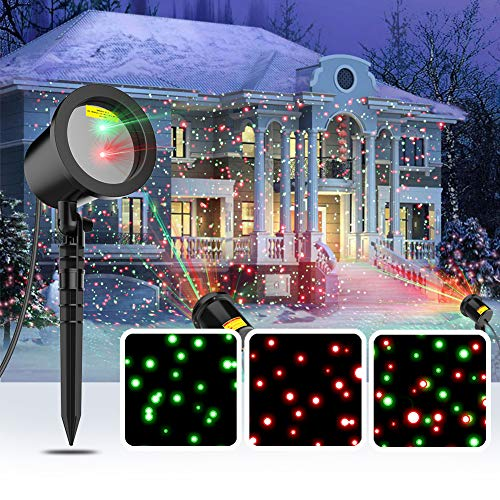 COOWOO Christmas Laser Lights, Star Laser Projector Light Show for Outdoor Decorations, Waterproof...