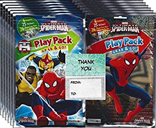 Marvel Spider-man Grab n Go Play Packs (12 Pack) Party Favors and 12