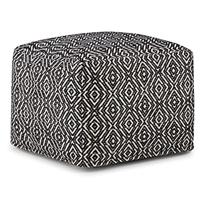 SIMPLIHOME Graham Square Pouf, Footstool, Upholstered in Patterned Black, Natural Hand Woven Cotton, for the Living Room, Bedroom and Kids Room, Transitional, Modern