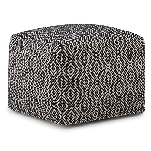 Simpli Home Graham Square Pouf, Footstool, Upholstered in Patterned Black, Natural Hand Woven Cotton, for the Living Room, Bedroom and Kids Room, Transitional, Modern