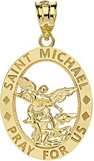 CaliRoseJewelry 14k Gold Saint Saint Michael Pray for Us Oval Charm Pendant