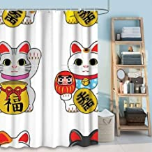 DISNEY COLLECTION Bathroom 72X72 Inch Shower Curtain Beckoning Cats Waterproof Heavy Duty Cartoon Cute Home Kitchen Dormitory Hotel