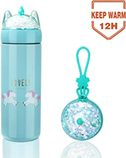 Unicorn Water Bottle for Kids, 12 Ounce Thermoses Stainless Steel Water Bottle Vacuum Insulated Water Flask Gift for Girls, Unicorn Drink Bottle with Box (Blue 12oz)
