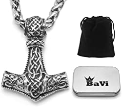 BaviPower Mjolnir The Thor's Hammer Pendant Necklace with Fenrir Wolf Pattern ♦ Stainless Steel ♦ Norse Scandinavian Necklace ♦ Authentic Viking Jewelry