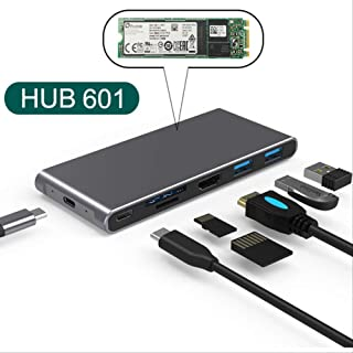 YGB Alimentado USB Hub Hub a Multi USB 3.0 Hdmi Vga Adaptador Dock Accesorios Usb C Tipo C 3.1 Divisor Para Macbook Pro La...