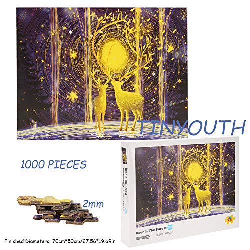 TINYOUTH 1000 Teile Große Hirsch Puzzle für Erwachsene, Hirsch Im Wald Puzzle, 70x50cm 2mm Karton Puzzle - Familienpuzzle Verringerter Druck Schwieriges Puzzle Rahmen Puzzle für Kinder Erwachsene