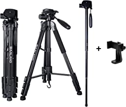 Camera Tripod with Phone Holder, 20-70 inch Flexible DSLR Tripod for iPhone Canon Nikon Video Camera Cellphone Selfie (Aluminum, with Cellphone Mount and Bag)