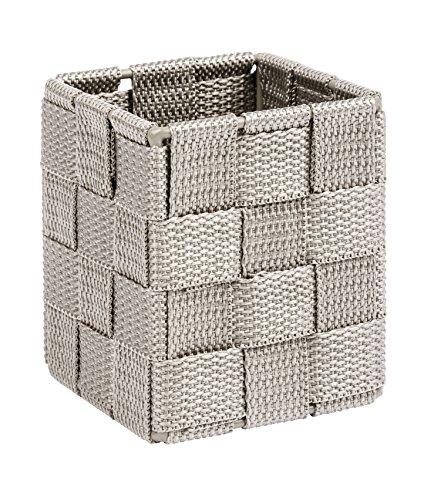 WENKO 22578100 Adria Aufbewahrungskorb mit Deckel Taupe Würfel -  Badkorb Küchenkorb,  Polypropylen , 7.5 x 7.5 x 9.0 cm