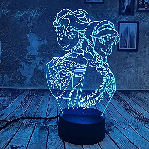Omgevingslicht, Nachtlampje 7 Veranderende Kleuren Touch Night Light Boy Kid Toys Licht Verjaardagscadeautjes Frozen Elsa Anna Mood Light