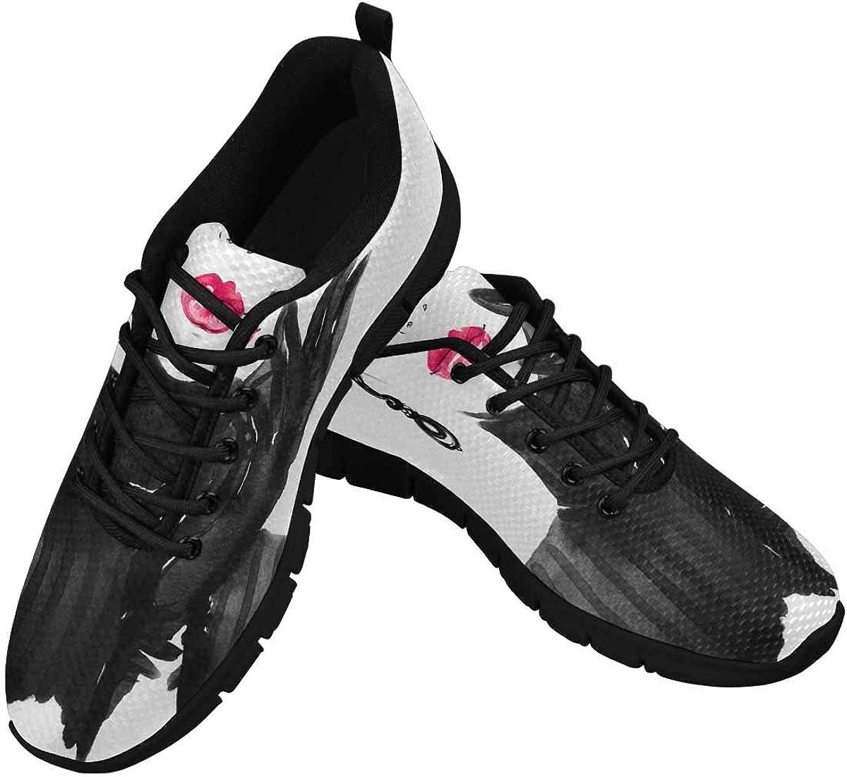 INTERESTPRINT Beautiful Woman Portrait Women's Athletic Walking Shoes Casual Mesh Comfortable Work Sneakers