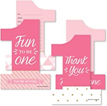 1st Birthday Girl - Fun to be One - 20 Shaped Fill-In Invitations and 20 Shaped Thank You Cards Kit - First Birthday Party Stationery Kit - 40 Pack