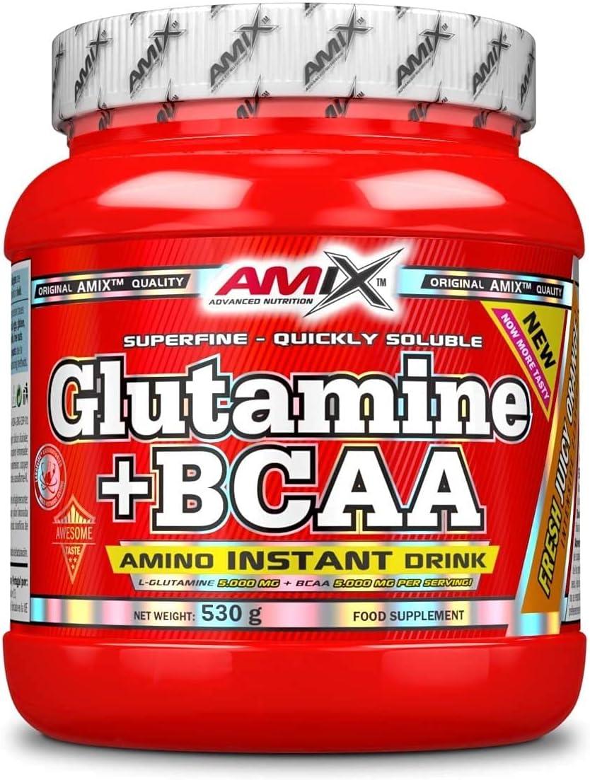 AMIX - Bcaa Glutamina - 530 Gramos - Complemento Alimenticio de Glutamina en Polvo - Reduce el Catabolismo Muscular - Óptimo para Deportistas - Sabor Naranja - Aminoácidos Ramificados