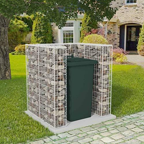 Gabionen-Mülltonnenverkleidung für 1 Tonne Stahl 110×100×120 cm