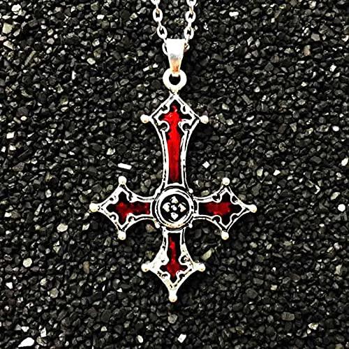 HJURTB Collar con Colgante de Cruz Invertida roja sangrienta Collar con Colgante de Cruz gótica Vintage Diablo Lucifer joyería satánica