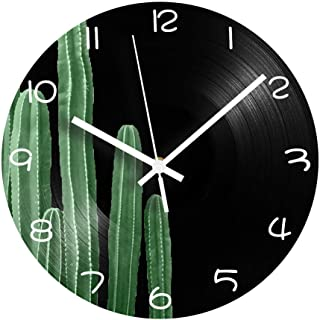 GYJCD Cactus Vinyl CD Record Clock Mute Mechanism Decorativo Vintage Digital Reloj De Pared Diseño Moderno Planta Números ...