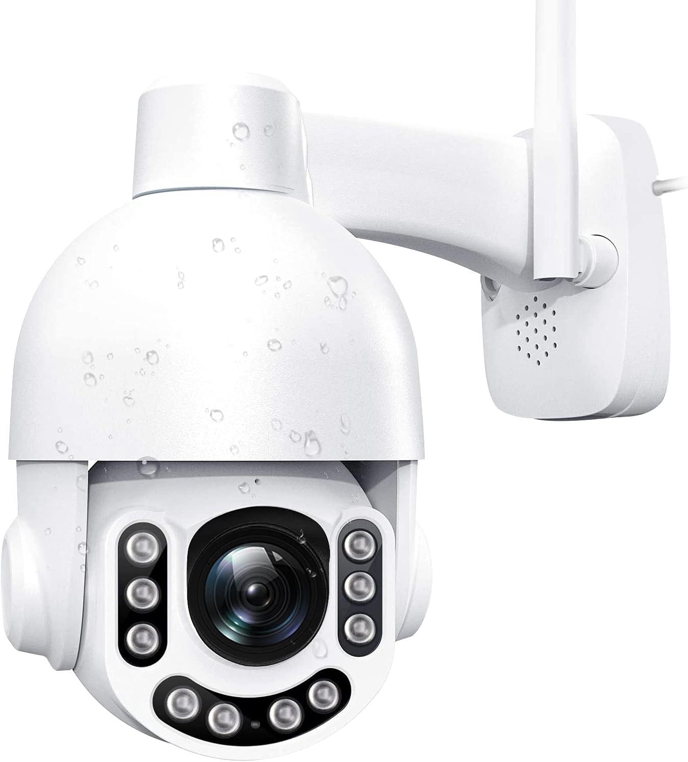 Netvue Cámara Vigilancia WiFi Exterior 2K 3MP & Vista de 360° Cámara IP Exterior Detección de Movimiento & Visión Nocturna,Camara Vigilancia Exterior Zoom 8X & Audio Bidireccional,
