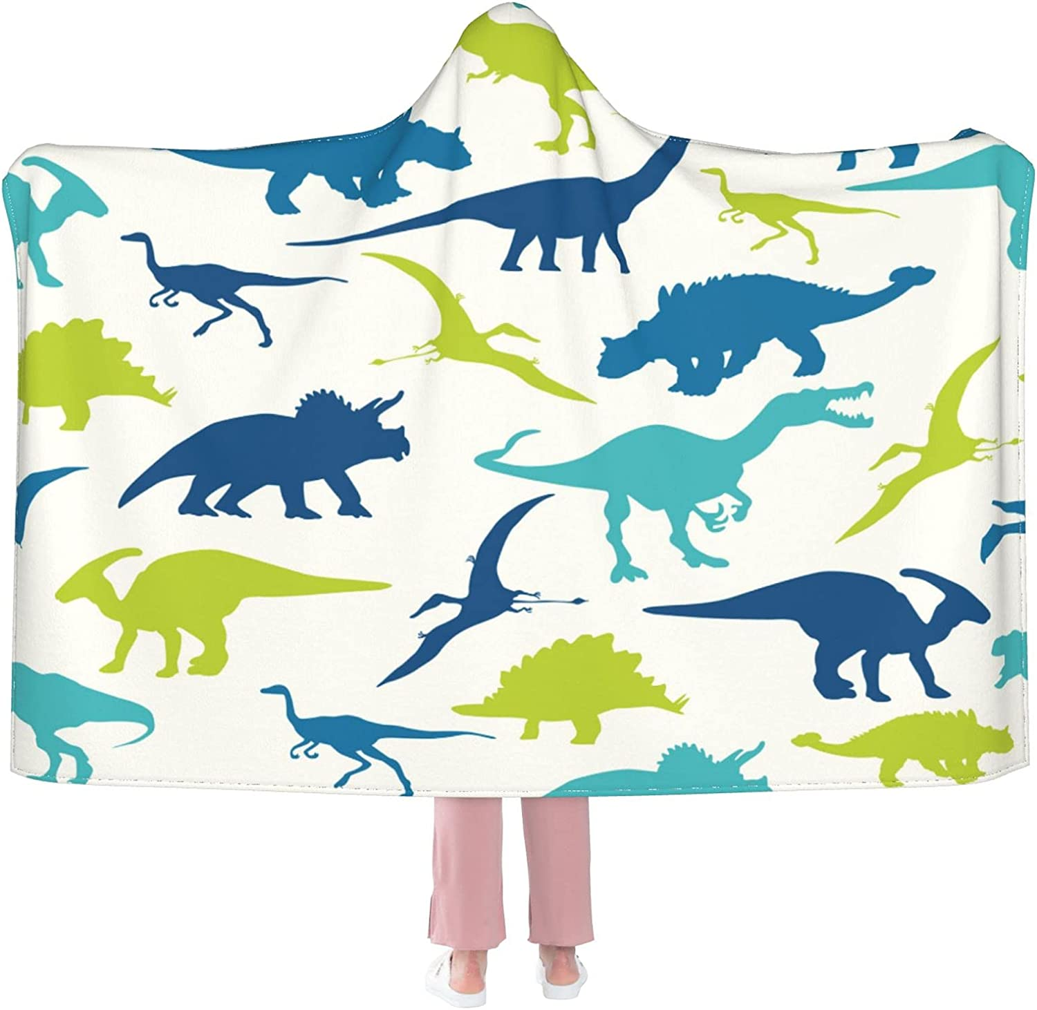 Blue and New product Ranking TOP7 Green Dinosaurs Hoode Flannel Blanket Wearable