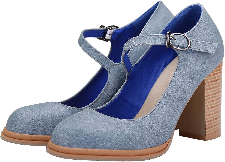 SaraIris Women's Block Heel Closed Toe Ankle Strap Pumps shoes