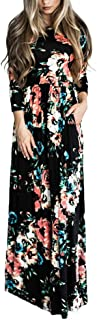 HOOYON Women's Casual Floral Printed Long Maxi Dress with...