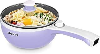 Dezin Electric Hot Pot Upgraded, Non-Stick Sauté Pan, Rapid Noodles Cooker, 1.5L Mini Pot for Steak, Egg, Fried Rice, Ramen, Oatmeal, Soup with Temperature Control, Purple (Egg Rack Included)