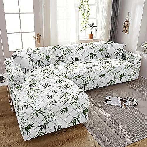 Funda de Sofá 1/2/3/4 Plazas Fundas para Sofa Elástica Cubre Sofá Universal Hojas de Bambú Verde Blanco Funda de Sofá Antisuciedad Funda Sofá Printed Protector de Sofá O Sillón 3 Plazas: 190-230 Cm